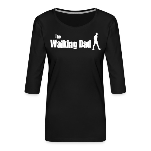 the walking dad white text on black - Women's Premium 3/4-Sleeve T-Shirt