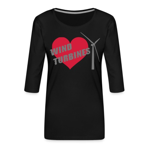 wind turbine grey - Women's Premium 3/4-Sleeve T-Shirt