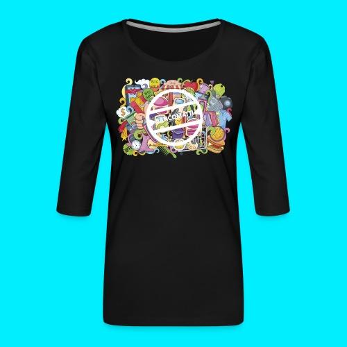 maglia logo doodle - Maglietta da donna premium con manica a 3/4