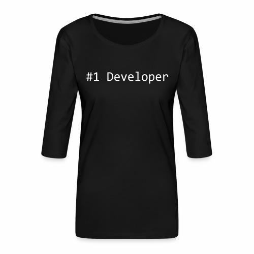 #1 Developer - White - Women's Premium 3/4-Sleeve T-Shirt