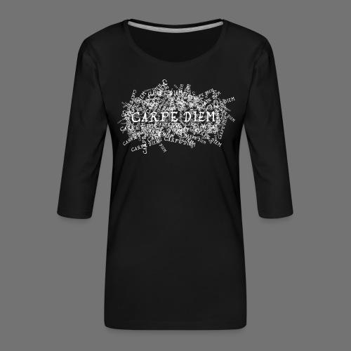 carpe diem (valkoinen) - Naisten premium 3/4-hihainen paita