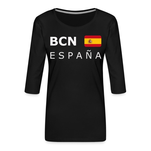 BCN ESPAÑA white-lettered 400 dpi - Women's Premium 3/4-Sleeve T-Shirt
