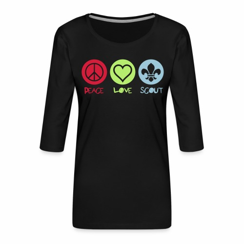 Peace Love Scout - T-shirt Premium manches 3/4 Femme