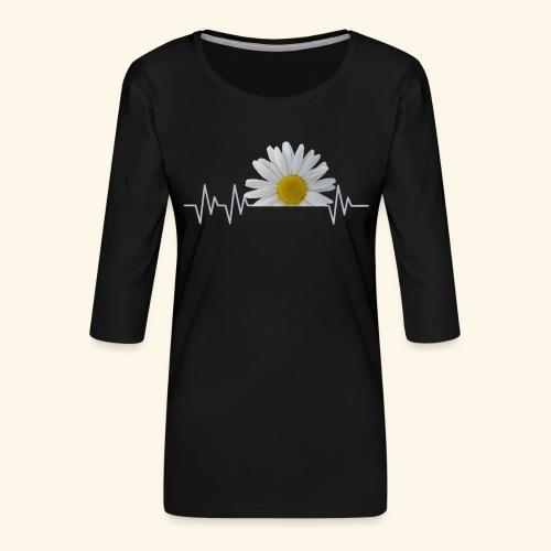 Margerite, Herzschlag, Gänseblümchen, Pulsschlag - Frauen Premium 3/4-Arm Shirt