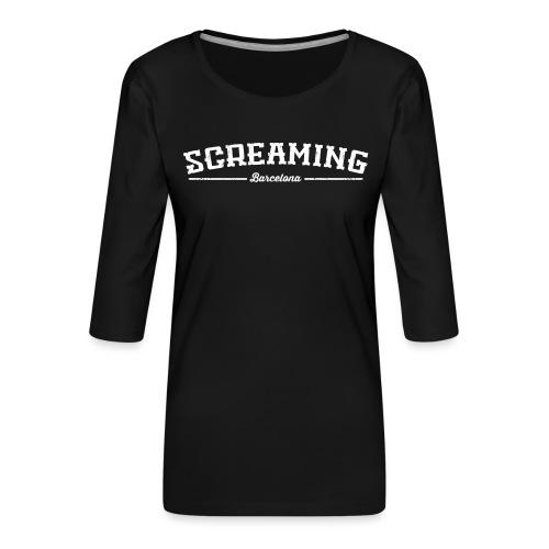 SCREAMING - Camiseta premium de manga 3/4 para mujer