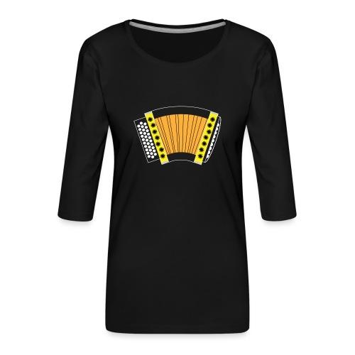 Schwyzerörgeli gelb schwarzer Hintergrund - Frauen Premium 3/4-Arm Shirt