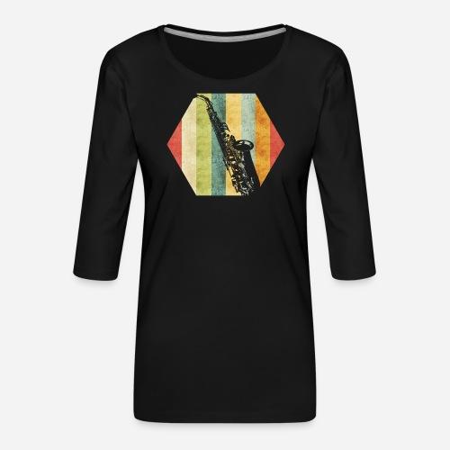 Retro Saxophon - Frauen Premium 3/4-Arm Shirt