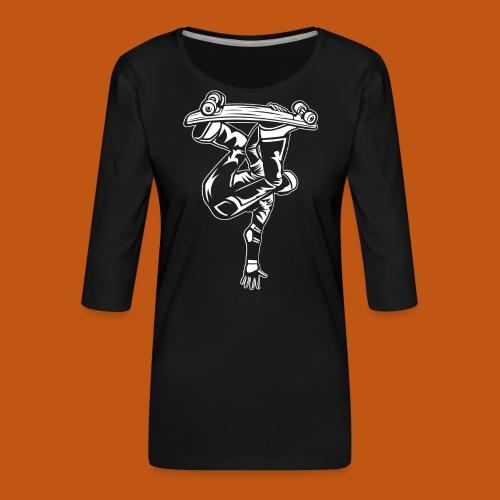 Skater / Skateboarder 03_weiß - Frauen Premium 3/4-Arm Shirt