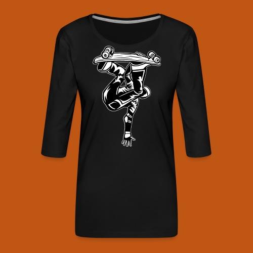 Skater / Skateboarder 03_schwarz weiß - Frauen Premium 3/4-Arm Shirt