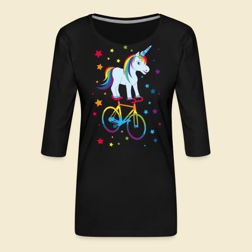 Kunstrad | Einhorn Regenbogen - Frauen Premium 3/4-Arm Shirt