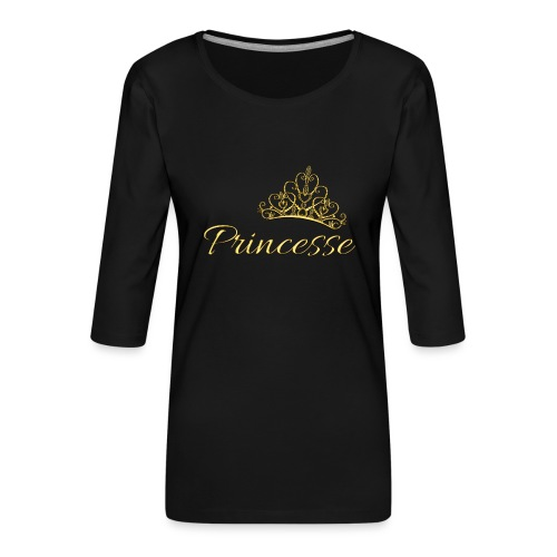 Princesse Or - by T-shirt chic et choc - T-shirt Premium manches 3/4 Femme