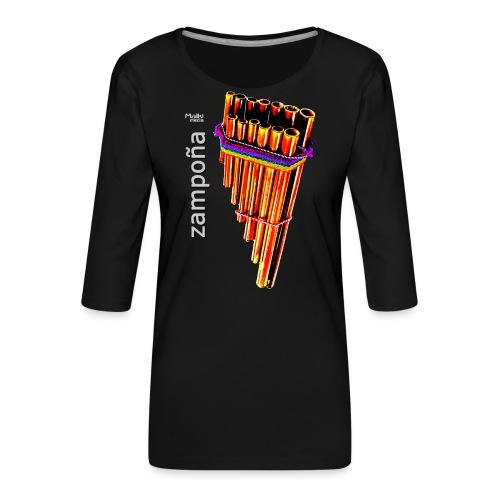 Zampoña clara - Camiseta premium de manga 3/4 para mujer