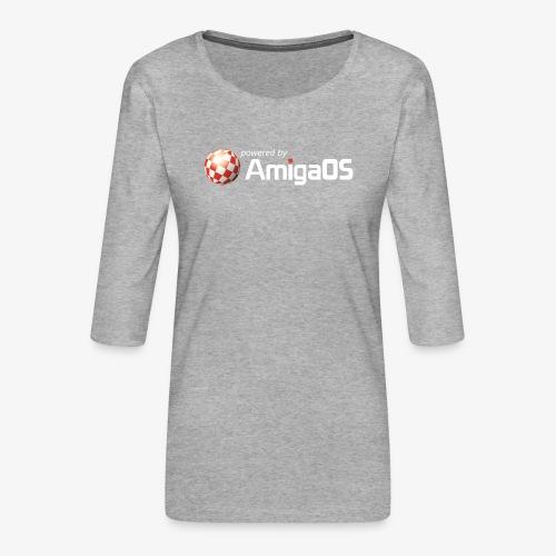 PoweredByAmigaOS white - Women's Premium 3/4-Sleeve T-Shirt