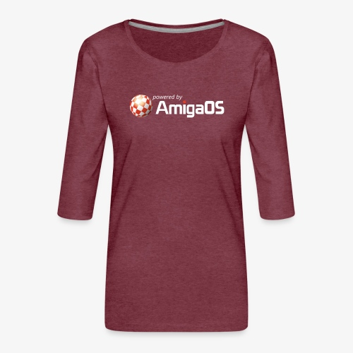 PoweredByAmigaOS white - Women's Premium 3/4-Sleeve T-Shirt