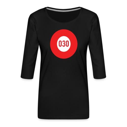 030 logo - Vrouwen premium shirt 3/4-mouw