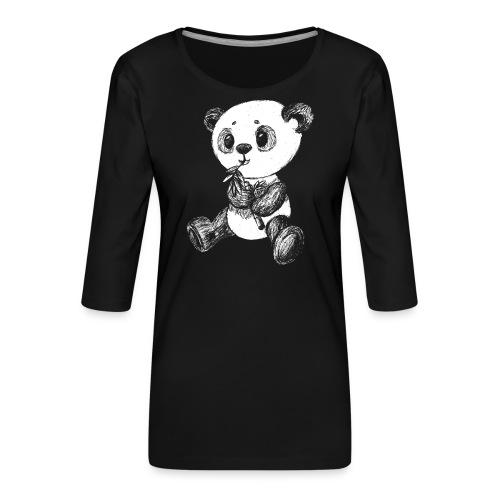 Panda bjørn hvid scribblesirii - Dame Premium shirt med 3/4-ærmer