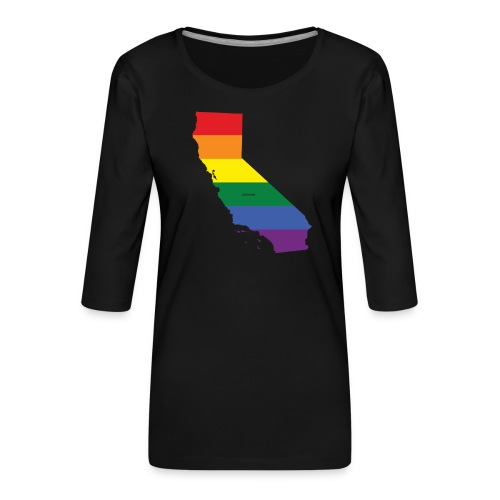 California Rainbow Flag - Women's Premium 3/4-Sleeve T-Shirt