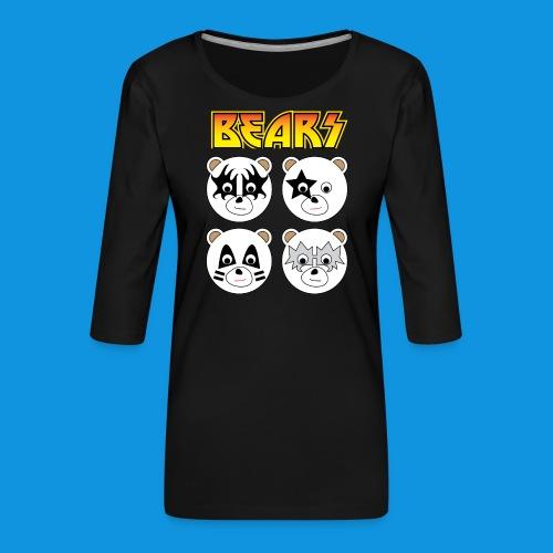 Kiss Bears square.png - Women's Premium 3/4-Sleeve T-Shirt