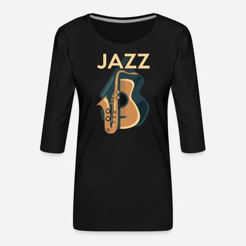 Jazz Gitarre mit Saxophon - Frauen Premium 3/4-Arm Shirt