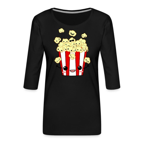 PopCorn - Camiseta premium de manga 3/4 para mujer
