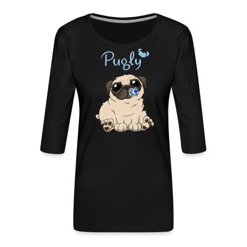 Bobo Pug - Premium-T-shirt med 3/4-ärm dam