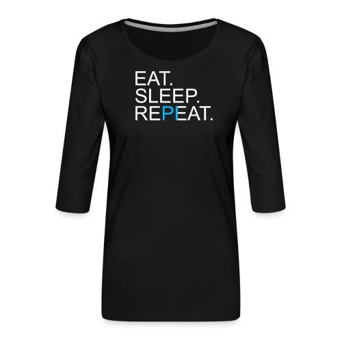 Eat Sleep Repeat PI Mathe Dunkel - Frauen Premium 3/4-Arm Shirt