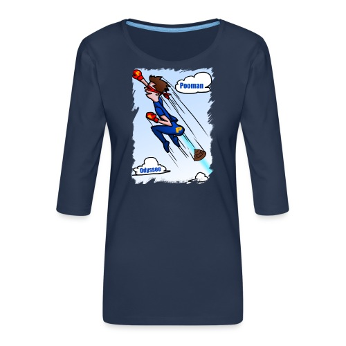 Superhero Pooman - Women's Premium 3/4-Sleeve T-Shirt