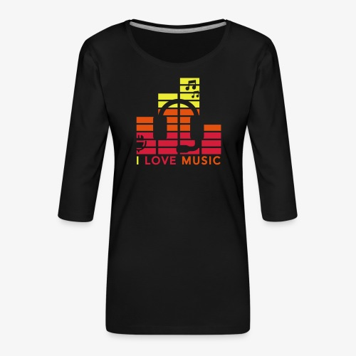 I love music Illustration Musik Drummershirts.de - Frauen Premium 3/4-Arm Shirt