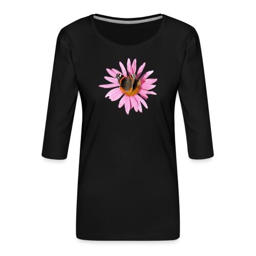 TIAN GREEN Garten - Sonnenhut Schmetterling - Frauen Premium 3/4-Arm Shirt