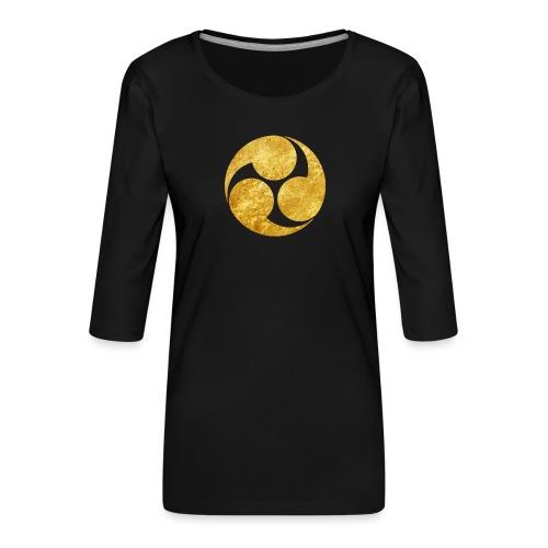Kobayakawa Mon Japanese clan gold on black - Women's Premium 3/4-Sleeve T-Shirt