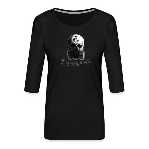 Trisquel Negro - Camiseta premium de manga 3/4 para mujer