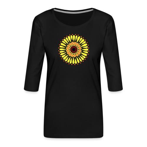 Yellow Sunflower Mandala - Women's Premium 3/4-Sleeve T-Shirt
