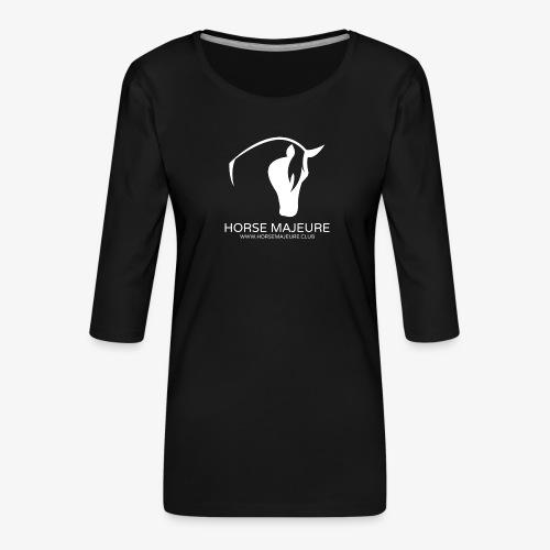 Horse Majeure Logo / Valkoinen - Naisten premium 3/4-hihainen paita