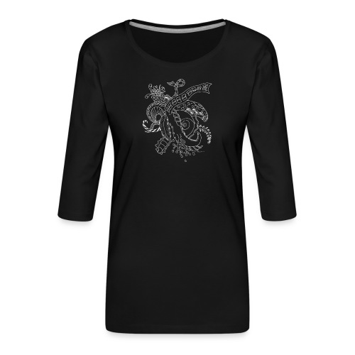 Fantasy hvid scribblesirii - Dame Premium shirt med 3/4-ærmer