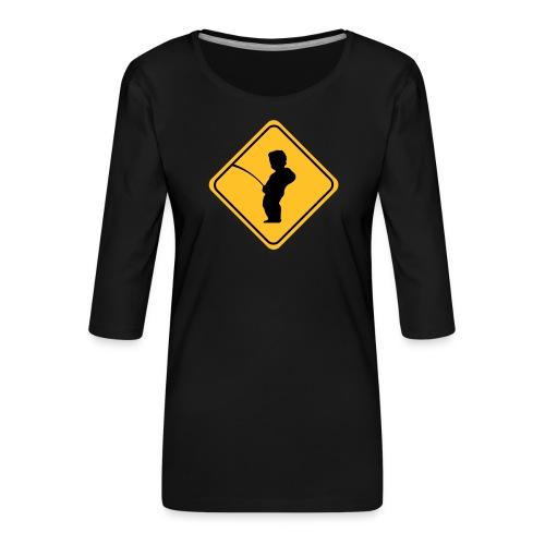 Manneken Pis sign - T-shirt Premium manches 3/4 Femme