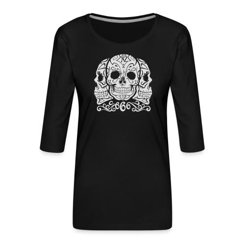 Skull Dia de los muertos - T-shirt Premium manches 3/4 Femme