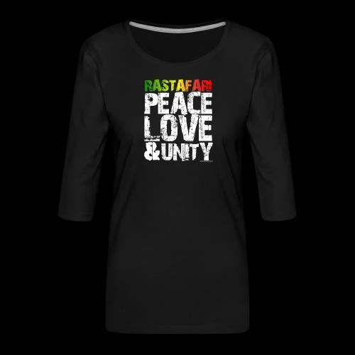 RASTAFARI - PEACE LOVE & UNITY - Frauen Premium 3/4-Arm Shirt