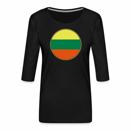 Litauen Flagge Rund Pixellamb - Frauen Premium 3/4-Arm Shirt