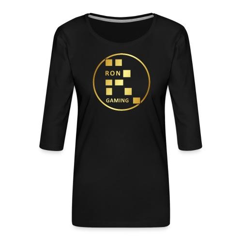 00407 RonGames dorado - Camiseta premium de manga 3/4 para mujer