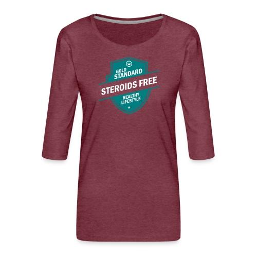 GoldStd-SteroidsFree-33 - Women's Premium 3/4-Sleeve T-Shirt