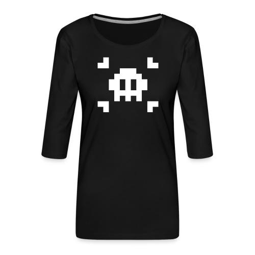 Pixel Skull - T-shirt Premium manches 3/4 Femme