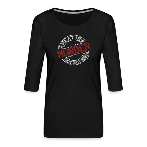 Meat is murder hell - Frauen Premium 3/4-Arm Shirt