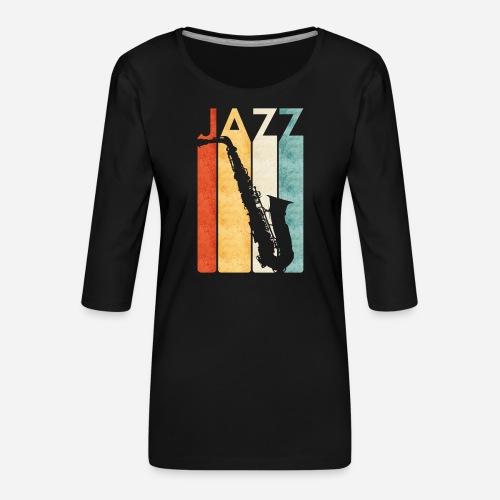 Jazz Saxophon Retro - Frauen Premium 3/4-Arm Shirt