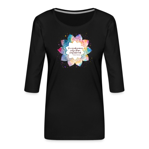 Citation de Nelson Mandela - T-shirt Premium manches 3/4 Femme
