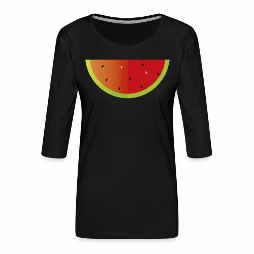 Sandia - Camiseta premium de manga 3/4 para mujer