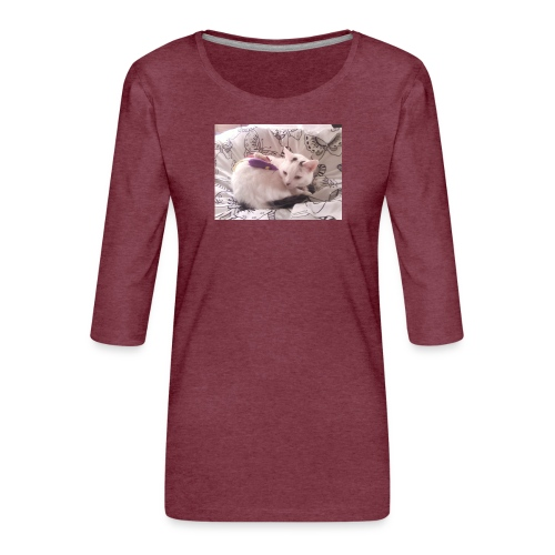 CAT SURROUNDED BY MICE AND BUTTERFLIES. - Women's Premium 3/4-Sleeve T-Shirt