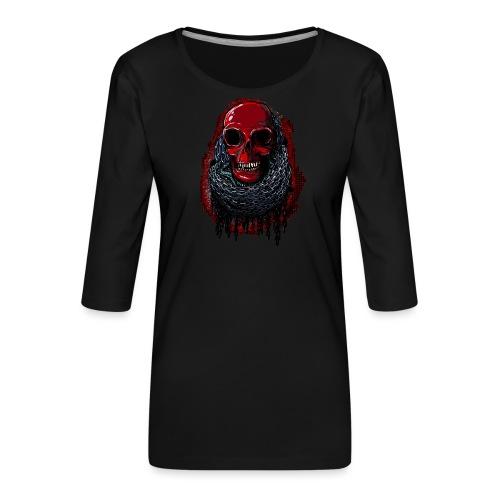 Red Skull in Chains - Women's Premium 3/4-Sleeve T-Shirt