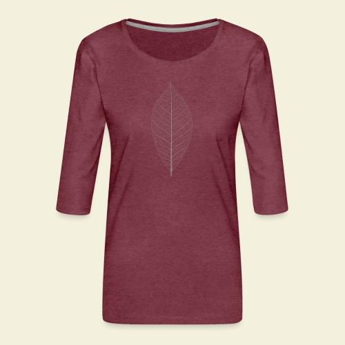 Feuille marron Squelette - T-shirt Premium manches 3/4 Femme
