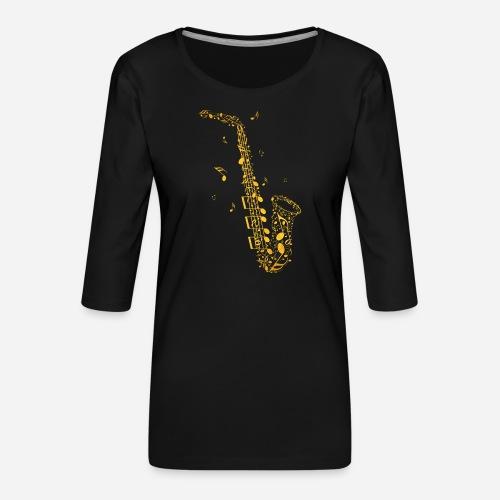 Goldenes Saxophon aus Musiknoten - Frauen Premium 3/4-Arm Shirt