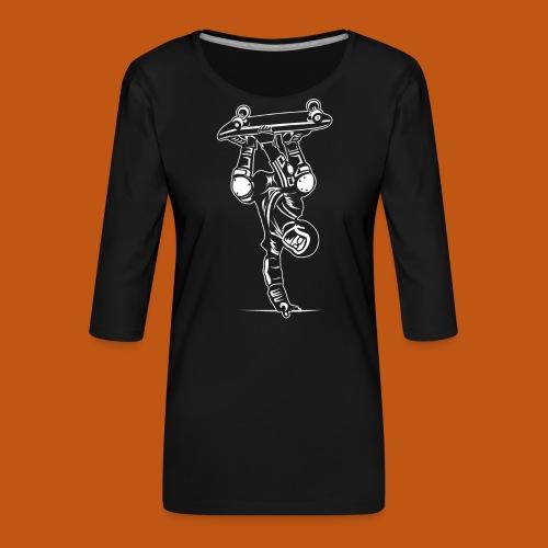 Skater / Skateboarder 02_weiß - Frauen Premium 3/4-Arm Shirt